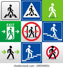 set of vector signs with walking man silhouettes. 'crosswalk', 'exit', 'caution!the doors close automatically', 'passage allowed', 'passage prohibited', 'descent down the stairs', 'climbing stairs up'