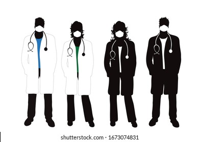 Set of vector silhouette of anonymous doctor with medical mask on white background. Symbol of healthy and sick. Danger of coronavirus.