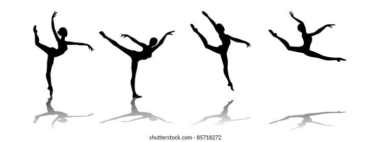 set vector silhouette of a  ballerina