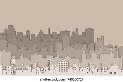 Set of vector silhouette buildings