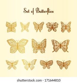 Set of vector of silhouette of butterflies. Twelve gold butterflies on a beige background. Design elements.