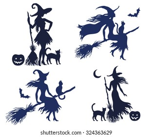 Set of vector silhouette halloween witches on the white background