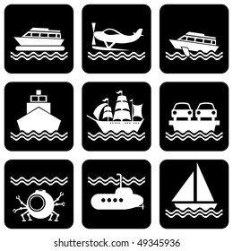 set of vector silhouette icons on marine vessels and transport