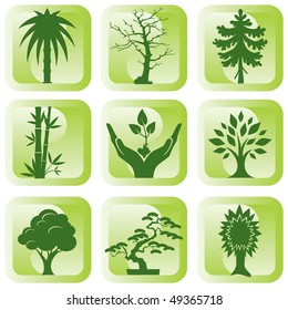 set of vector silhouette icons of trees and plants
