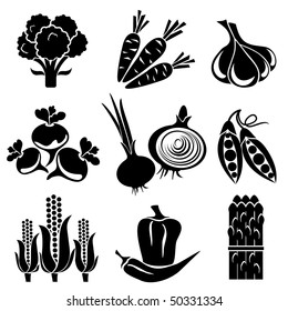 set of vector silhouette icons of vegetables. Black and white icons.