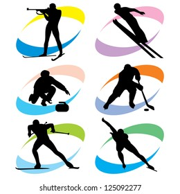 set of vector silhouette icons of the winter sport and the Olympic Games