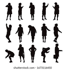 Set of vector silhouette of obese women on white background. Symbol of elderly lady in different pose.