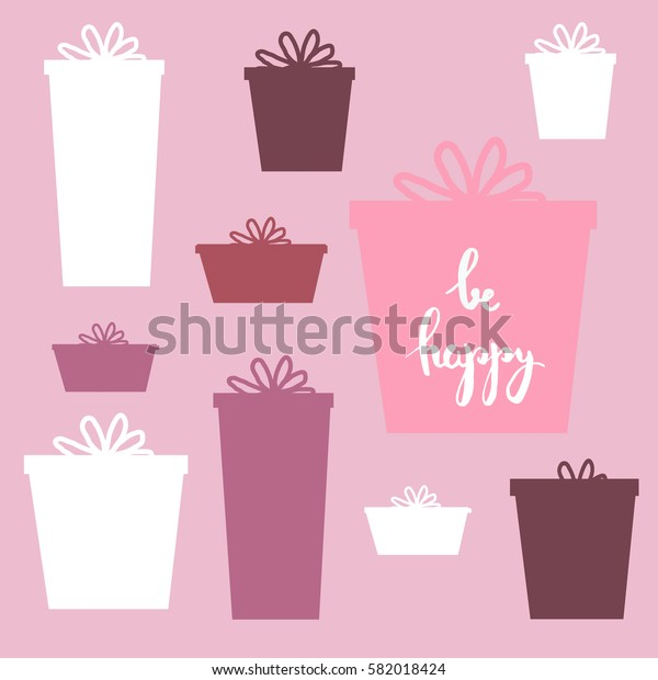 Set of vector silhouette presents on pink with some text