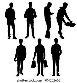 Set vector silhouette teenager, standing, black color, isolated on white background