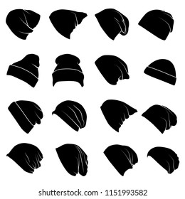 Set of vector silhouettes of black hipster knitted hat of different shapes isolated on white background