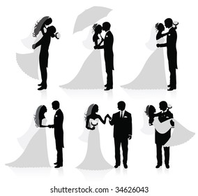 Set of vector silhouettes of a broom and a bride.
