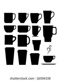 A set of vector silhouettes of coffee and beverage mugs and cups.
