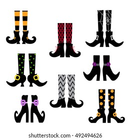 Set of vector silhouettes of colored witches legs in stockings and shoes on a white background. Halloween party.