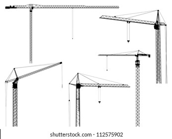 Set of vector silhouettes of construction crane tower, isolated on white.