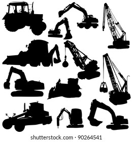 Set of vector silhouettes of  construction machine