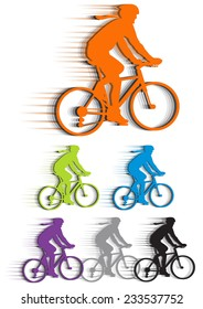 set vector silhouettes cyclists, (bike to work). isolated