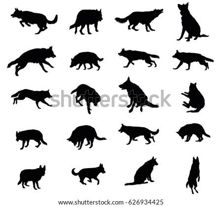 set vector silhouettes dogs german shepherd stock vector royalty