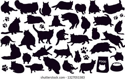 Set vector silhouettes of the fat cats and the paw prints and cat foods - Isolated on white background