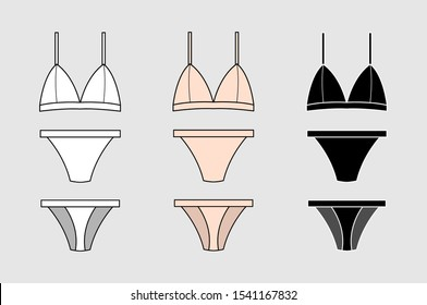 Set of vector silhouettes of female bras. Beautiful elements of women underwear. Sets of basic women's underwear. Bra and underpants. Vector illustration.