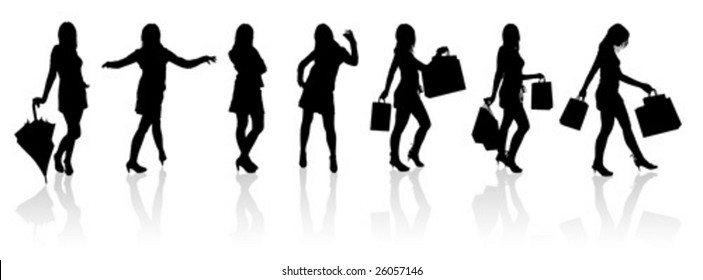 Set vector silhouettes girls with bag, illustration.