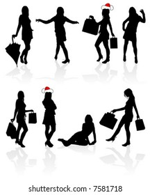 Set vector silhouettes girls with bag, illustration