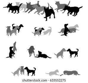 Set vector silhouettes group of dogs (Jack Russel terrier) black and grey colors and cut out on white background. Relationship of dogs