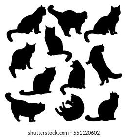 Set of vector Silhouettes of images of cute cats  in various poses.