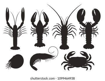 Set of vector silhouettes lobster, crab, spiny lobster, shrimp, nautilus, crayfish, langoustine, seafood. EPS 10. Vector illustration