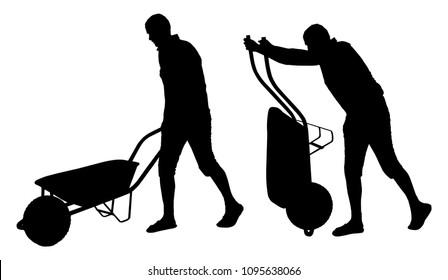 Set of vector silhouettes of a man carrying wheelbarrow.