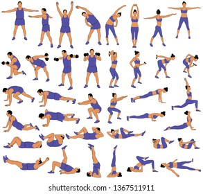 Set of vector silhouettes of man and woman in costume doing fitness, sport and yoga workout isolated on white background.  Icons of sportive boy and girl practicing exercises in different positions.