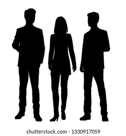 Set of vector silhouettes of  men and a woman, a group of standing business people, black color isolated on white background
