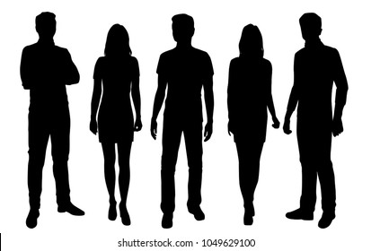 Set of  vector silhouettes  men and women, business people group, different poses,  black color, isolated on white background
