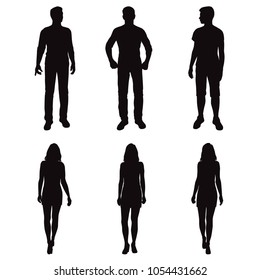 Set vector silhouettes men and women, business people, group , different poses,  black color, isolated on white background
