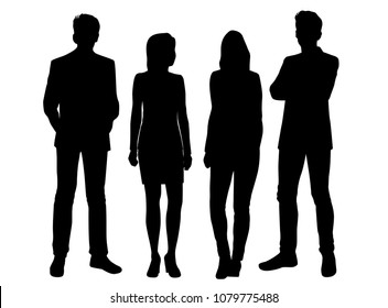 Set vector silhouettes men and women standing, business people, group , different poses,  black color, isolated on white background