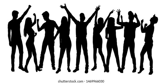 Set vector silhouettes men and women standing,  profile, hands up, different poses,    group business  people,   black color, isolated on white background