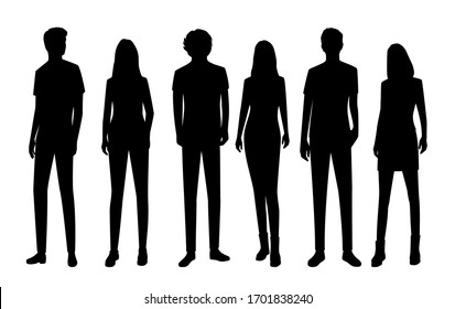 Set of vector silhouettes of  men and a women, a group of standing  business people, black color isolated on white background