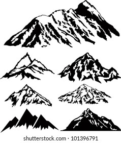 set of vector silhouettes of the mountains