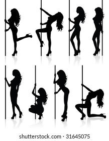 Set of vector silhouettes of a naked stripper woman with a pole.