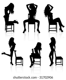 Set of vector silhouettes of a naked stripper woman with a chair.