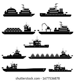 Set of vector silhouettes of passenger, cargo, towing and specialized sea ships