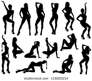 Set of vector silhouettes of sexy pinup girls in dance shoes. Shapes of beautiful dancing woman in different poses. Beauty and fashion model icons isolated on white background.