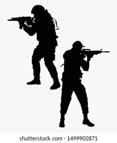 set of vector silhouettes of soldiers