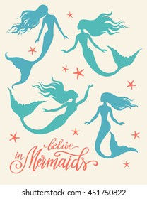 Set of vector silhouettes of swimming mermaids and hand written lettering.