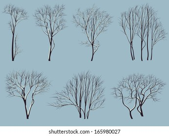 Set vector silhouettes of trees without leaves with snow on branches.