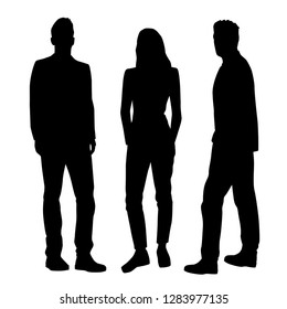 Set of vector silhouettes of two  men and a woman, a group of standing business people, black color isolated on white background