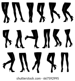 Set of vector silhouettes of various beautiful female legs isolated on white background. Slim women's legs in high-heeled shoes