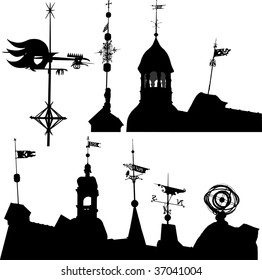 Set of vector silhouettes of weather vanes and turrets