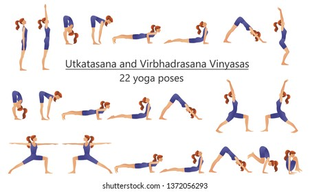 Set of vector silhouettes of woman doing yoga exercises. Icons of flexible girl stretching her body in different yoga poses. Colorful shapes of woman isolated on white background.