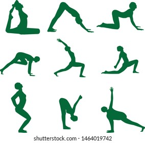 Set of vector silhouettes of woman doing yoga exercises.