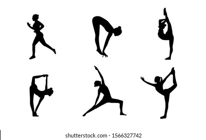 Set of vector silhouettes of woman doing yoga exercises. Icons of flexible girl stretching her body in different yoga poses. Black shapes of woman isolated on white background
